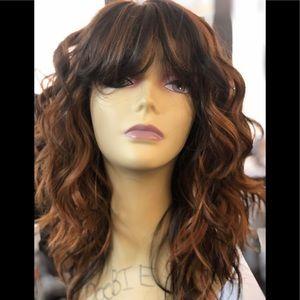 Copper brown wavy wig cheap cute wig